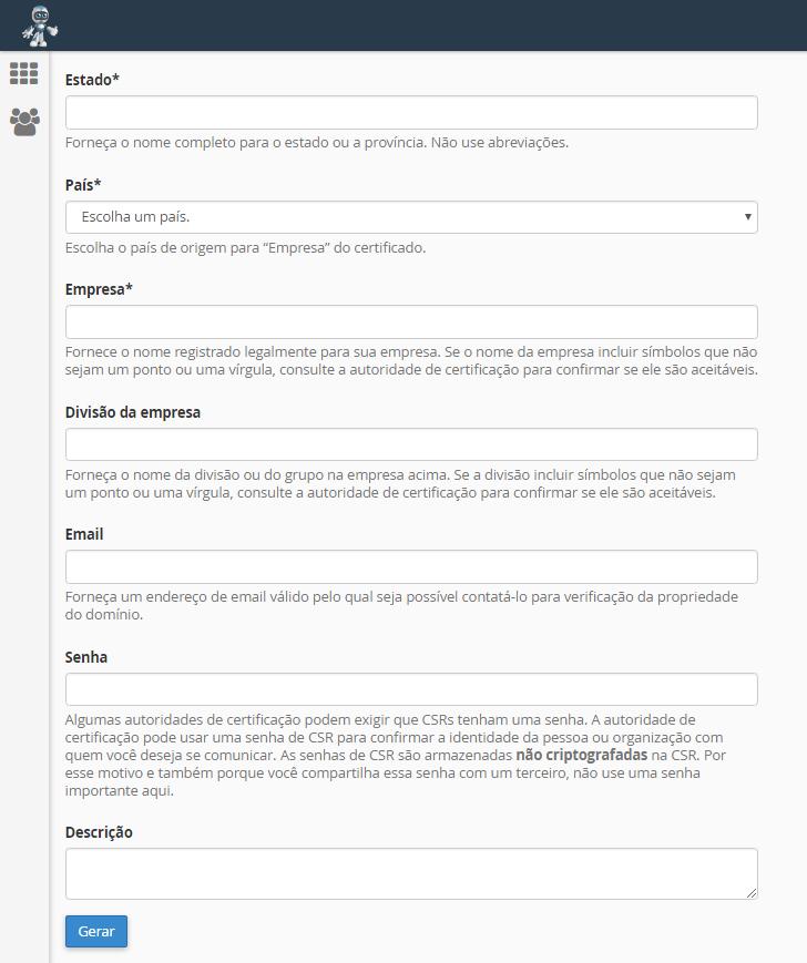 Formulario cPanel SSL
